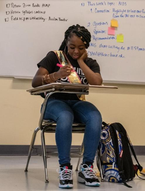 Student sitting at desk
