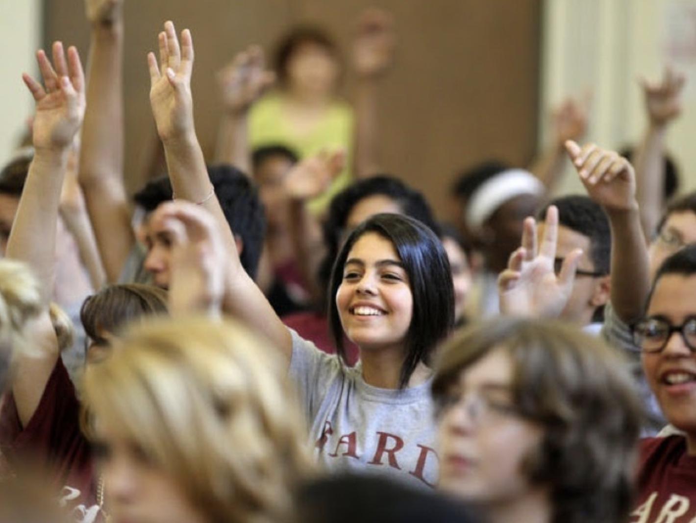 Bard Manhattan High School Student Raising Hand among peers