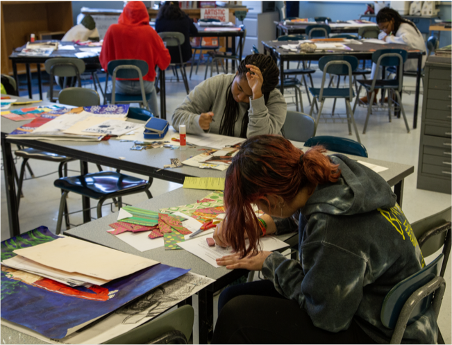 Two students working in a classroom