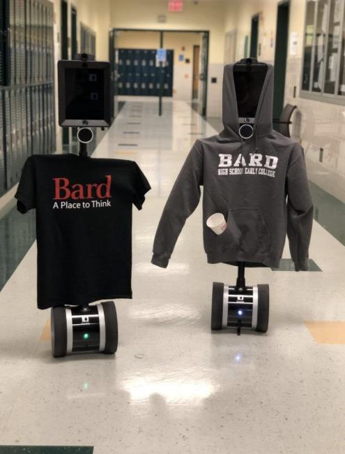 Robots wearing Bard High School Early College Sweatshirts