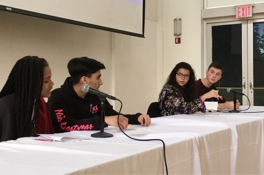 Students speaking at event
